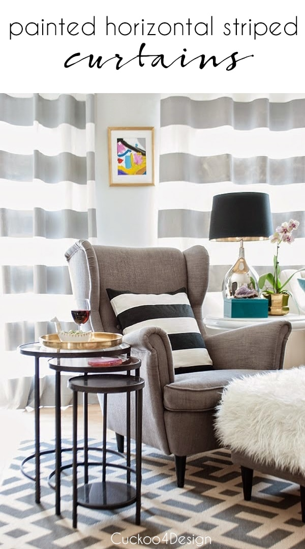 DIY painted horizontal striped curtains | how to paint striped curtains | painting fabric curtains | grey horizontal striped curtains | curtain DIY | affordable curtains #horizontalstripedcurtains #greyhorizontalstripedcurtains #stripedcurtains