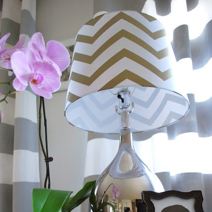 DIY gray and white horizontal striped curtains