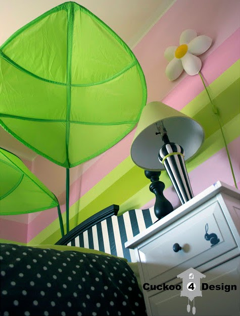 Black, white, pink and lime green girl's room