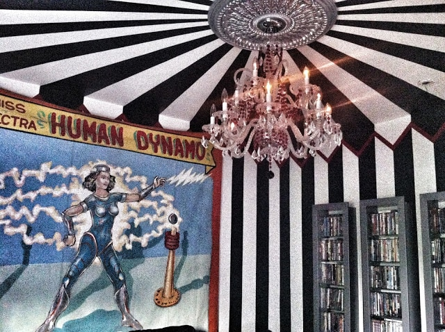 black and white striped circus tent walls