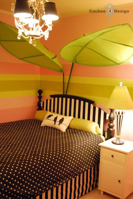 black and white polka dots and stripes with pink striped walls, ikea leaves, DIY striped headboard
