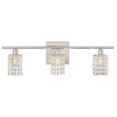 pretty chrome crystal vanity light fixture