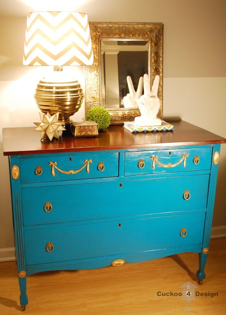dresser with gold leaf, lagoon spray paint