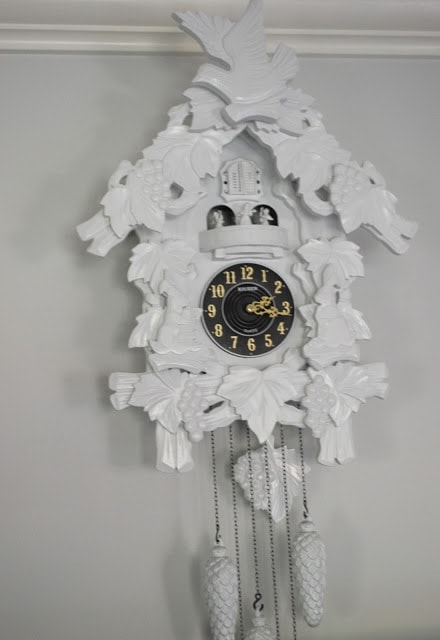 large modern white cuckoo clock