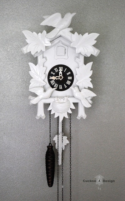 cuckoo 4 design's small white cuckoo clock
