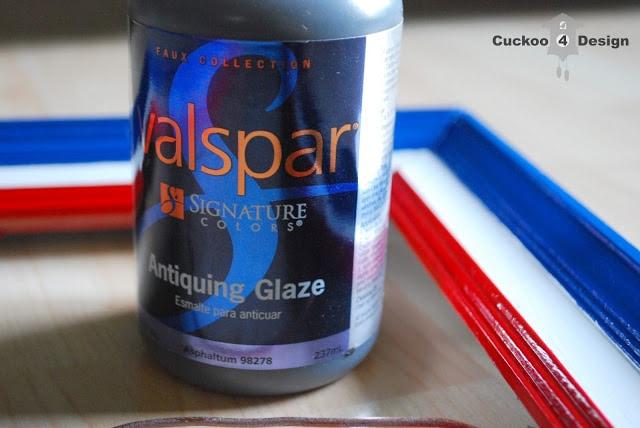 Valspar antiquing glaze on glossy frame
