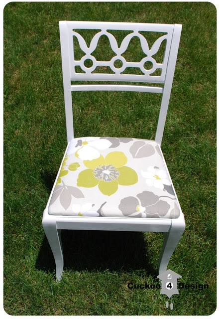refinished white vintage chair with green, grey and white floral waverly fabric