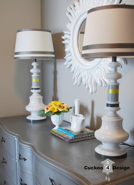 grey and white striped brass painted lamps