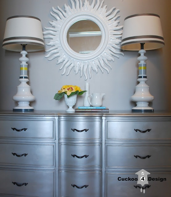 painted brass lamp in grey, white and yellow stripes