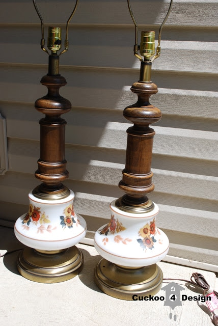 pair of ugly 70s brass, painted glass and wood lamps