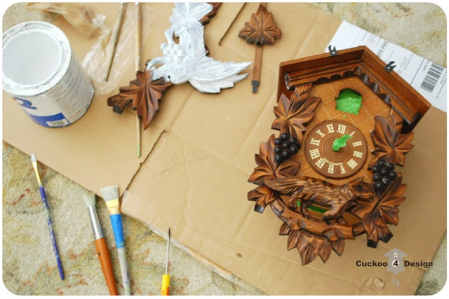 painting brown cuckoo clock