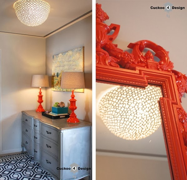 hallway view of DIY flush mount ceiling fixture