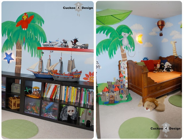 jungle wall mural in toddler/baby room