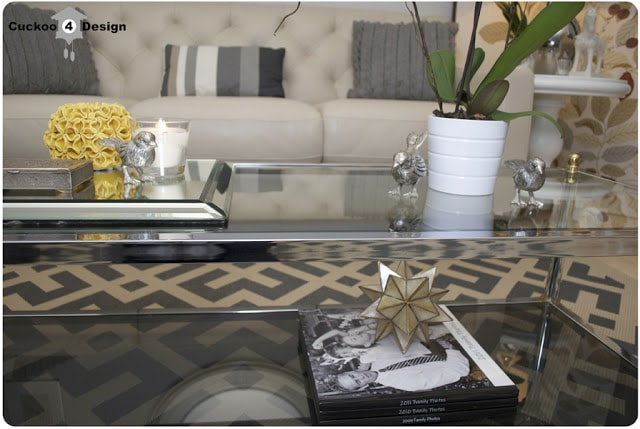 brass, chrome and glass coffee table vingette