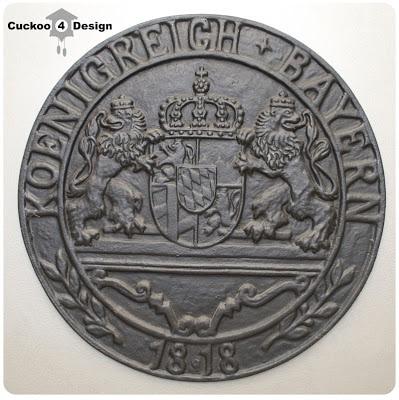 large 1818 Bavarian wrought iron medallion