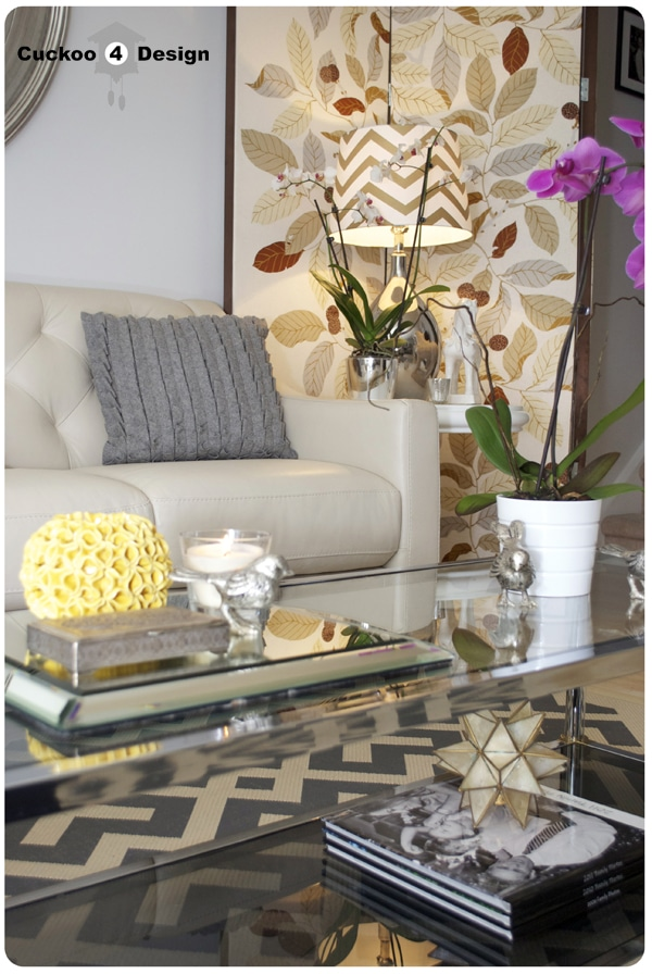 Macy's Claudia Sofa and brass and chrome coffee table