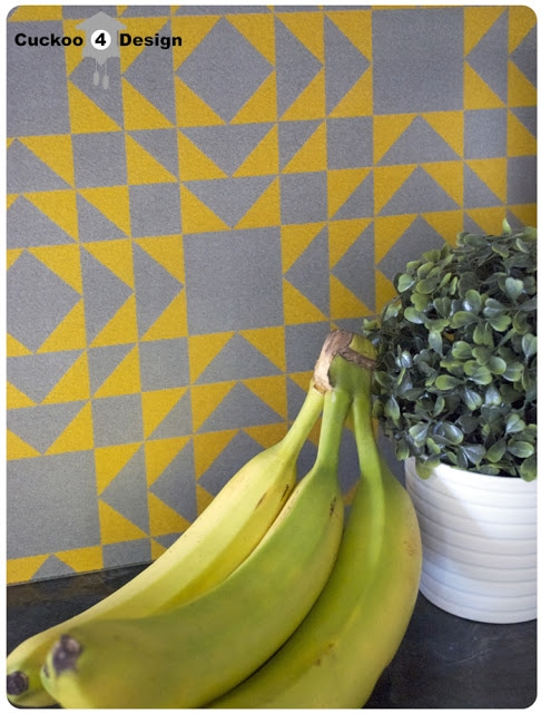 yellow and grey kitchen vignette, yellow and grey cutting board