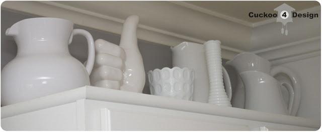 milk glass collection in kitchen