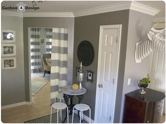 ballard design grey chevron rug in kitchen