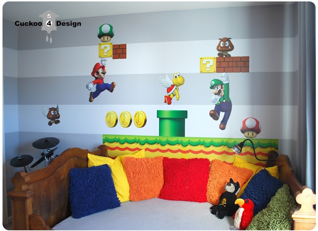 grey horizontal stripe walls and Blik Mario Brothers wall decal