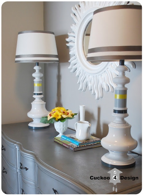Silver French Provincial Dresser with refinished lamps