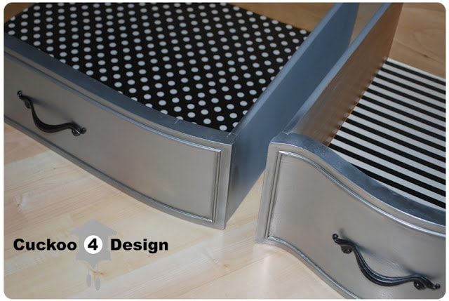 black and white polka dot and striped drawers
