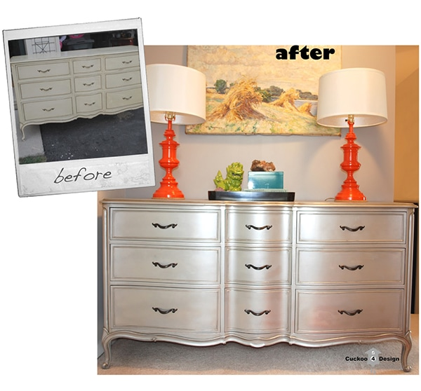 Before and after silver french provincial dresser makeover
