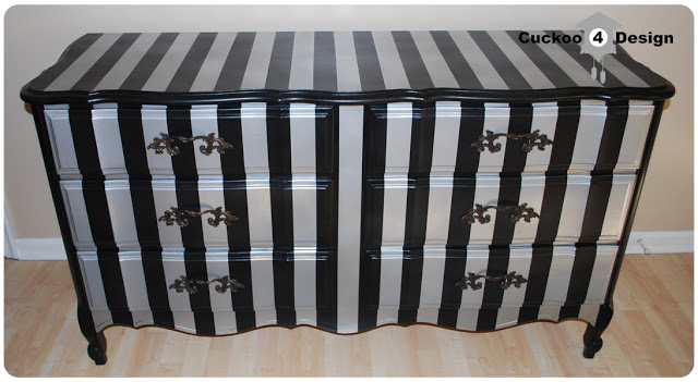 black and silver striped French Provincial dresser