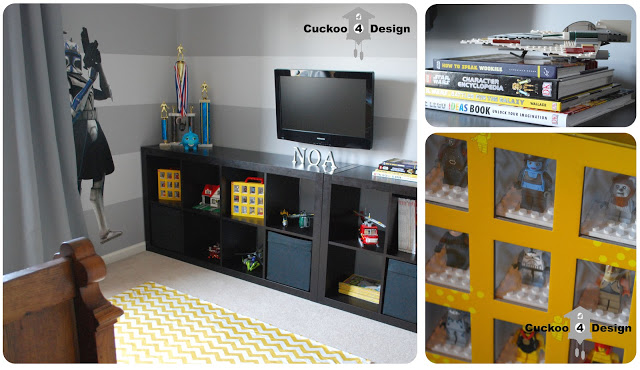 Lego Star Wars room design with grey horizontal striped walls, Captain Rex clone