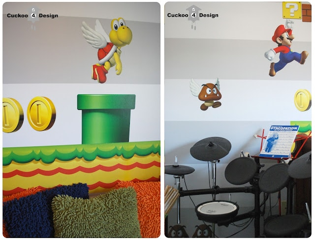 Blik Mario Brothers wall decal and Roland drum set