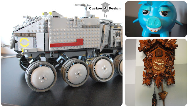 lego tank, old navy piggy bank and cuckoo clock