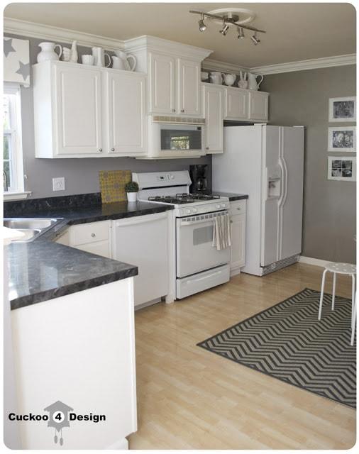 white kitchen with milk glass