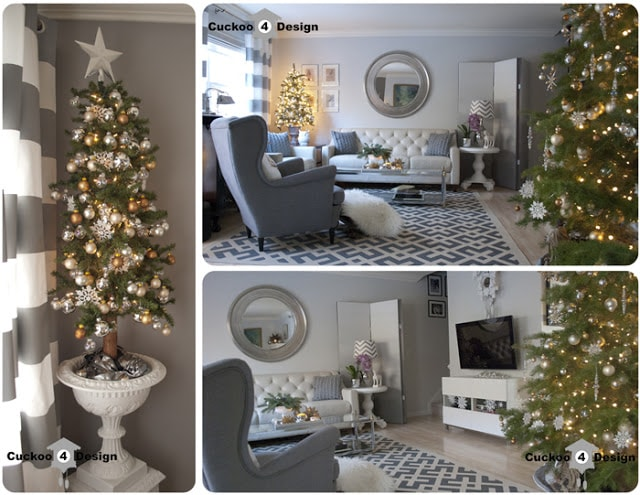 silver, gold, tan and white small christmas tree