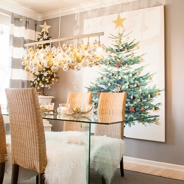 white, grey and mixed metallics Christmas decor ideas