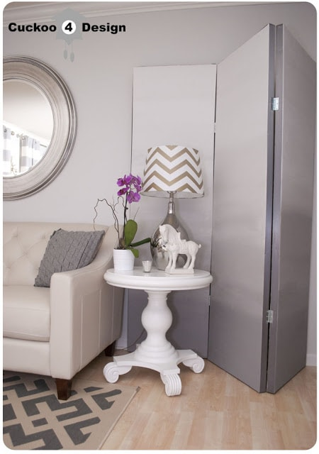DIY grey ombre room divider, chevron lamp, macy's claudia sofa