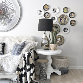 DIY Piero Fornasetti plates | decoupaging Piero Fornasetti plates | black and white plates with faces