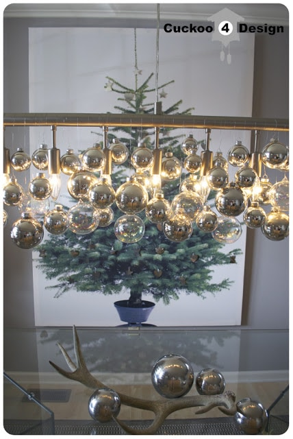 DIY Christmas Ornament chandelier and Ikea Margareta wall art