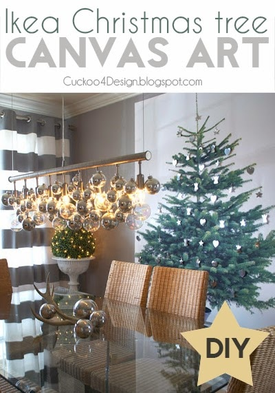 beautiful and festive Christmas tree art on canvas - what to do when you don't have enough room for a tree - Christmas tree substitute