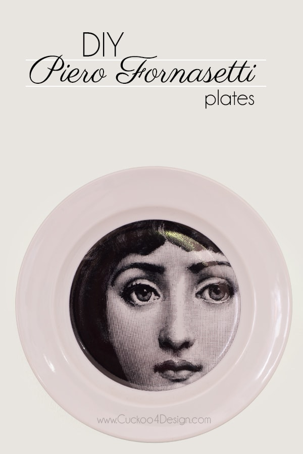 DIY Piero Fornasetti Plates | theme and variations (Terma e Variazion) plates by Piero Fornasetti | Lina Cavalieri | DIY black and white plates with faces