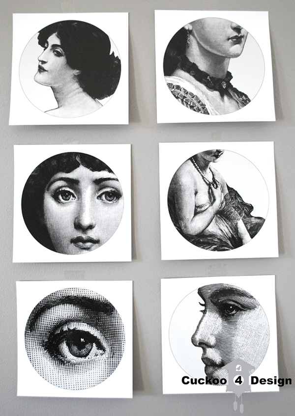 Piero Fornasetti Stickers | DIY Piero Fornasetti plates | decoupaging Piero Fornasetti plates | black and white plates with faces