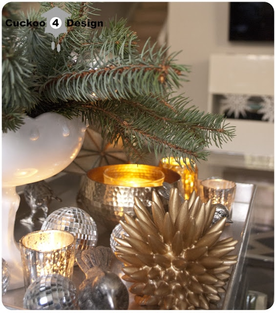 silver, gold and white Christmas coffee table decoration
