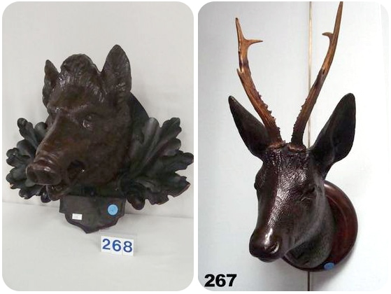 Schwarzwald deer head and boar head
