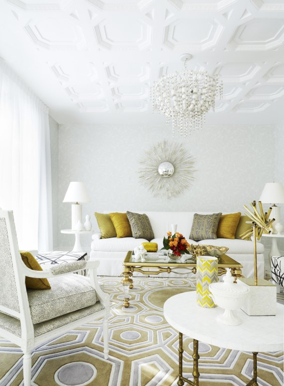 white, gold and grey living room