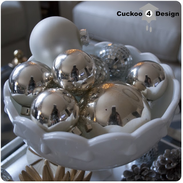 white bowl of silver, white and gold ornaments
