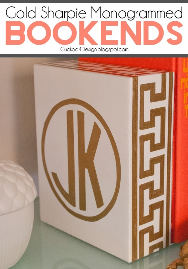 Gold Monogrammed Greek Key Bookend | DIY bookends | how to paint bookends