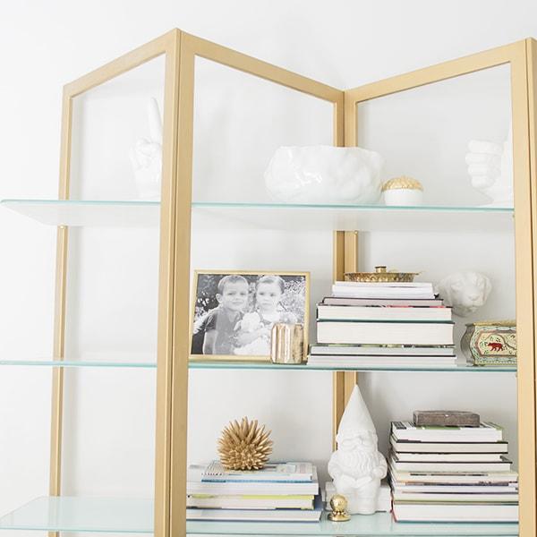 brass shelf styling