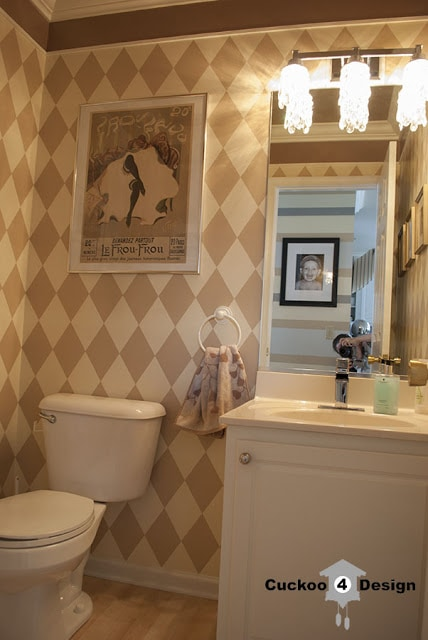 powder room with beige painted diamond pattern