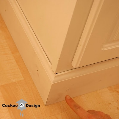 nailing base molding around cabinet toe kick