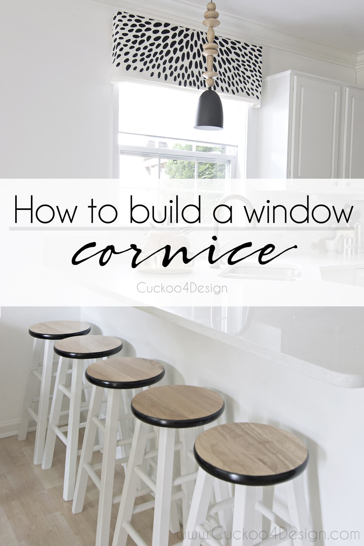 DIY window valance | how to build a Window valance | black and white window valance | window cornice | How to building a window cornice