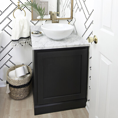 bathroom cabinet kick plate makeover